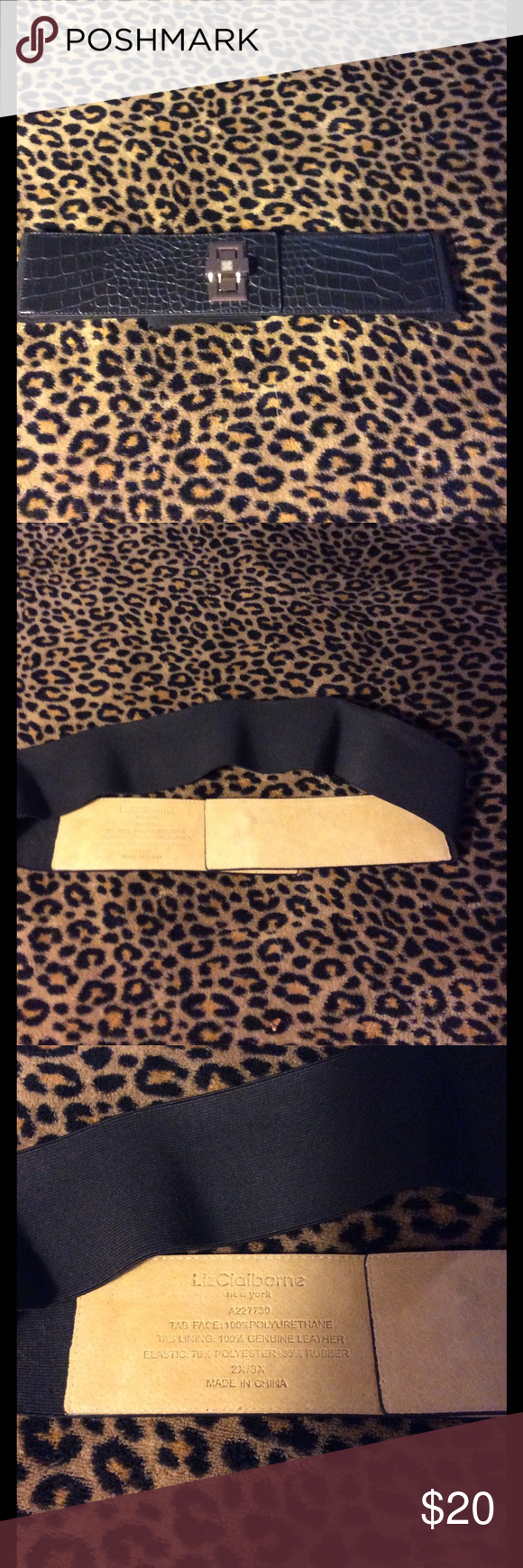 LIZ CLAIBORNE Leather/Elastic Turn-lock BELT 🦋🦋 NWOT🦋Excellent Condition 💕BLACK Alligator embossed 💯%GENUINE LEATHER 💥Black Elastic stretches to fit 2X/3X🦋🦋Beautiful Silver-tone Turn-lock hardware💕Never worn!!💥tiny tiny scratches on turn lock and closure/ hardly noticeable(full disclosure) Liz Claiborne Accessories Belts