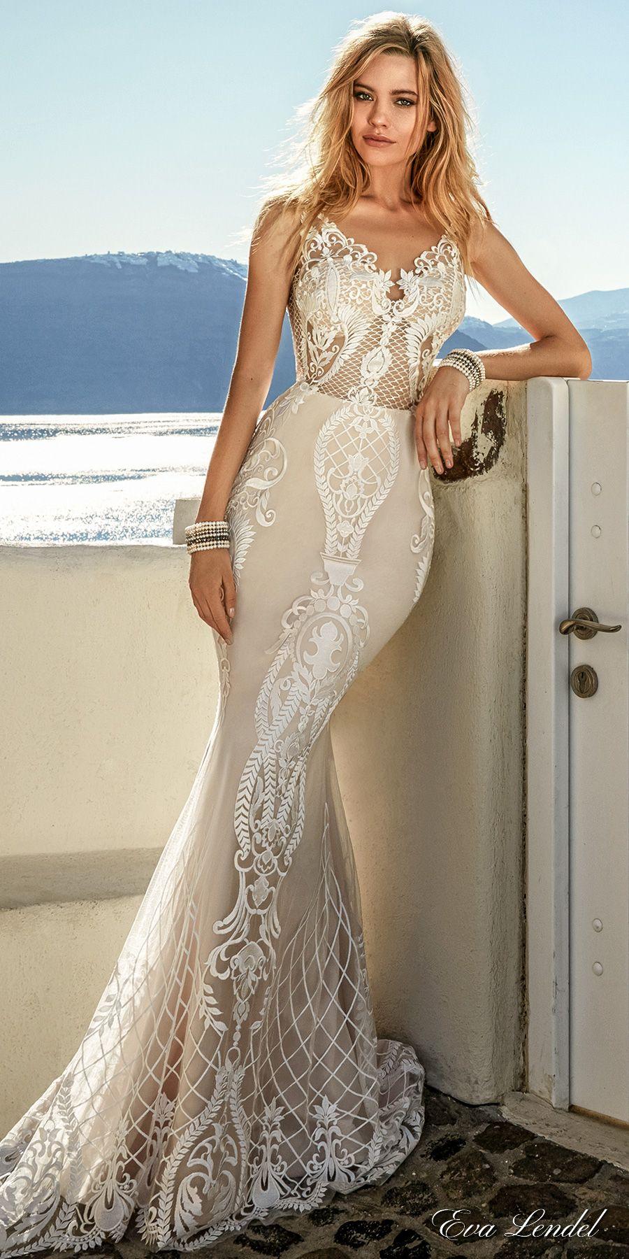 02dd390a7b7 Eva Lendel 2017 bridal sleeveless thin strap v neckline full embellishment  elegant sexy fit and flare wedding dress open low v back sweep train  (tailor) mv ...