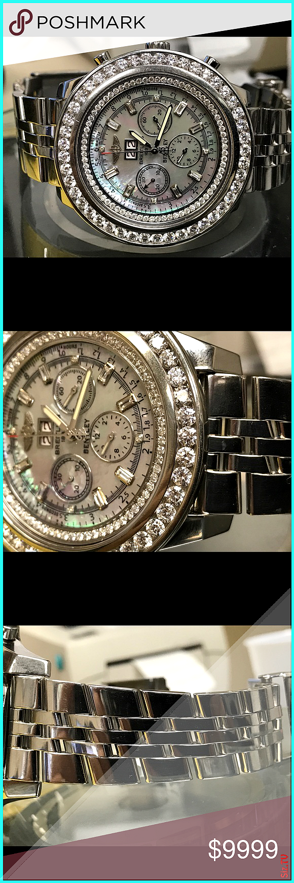 Breathing Bentley A44362 Custom Diamonds 8CTTW This is preowned Breitling Bentley With custom Diamonds bezel and custom dial Chronograph hands Dat Breathing Bentley A4436...