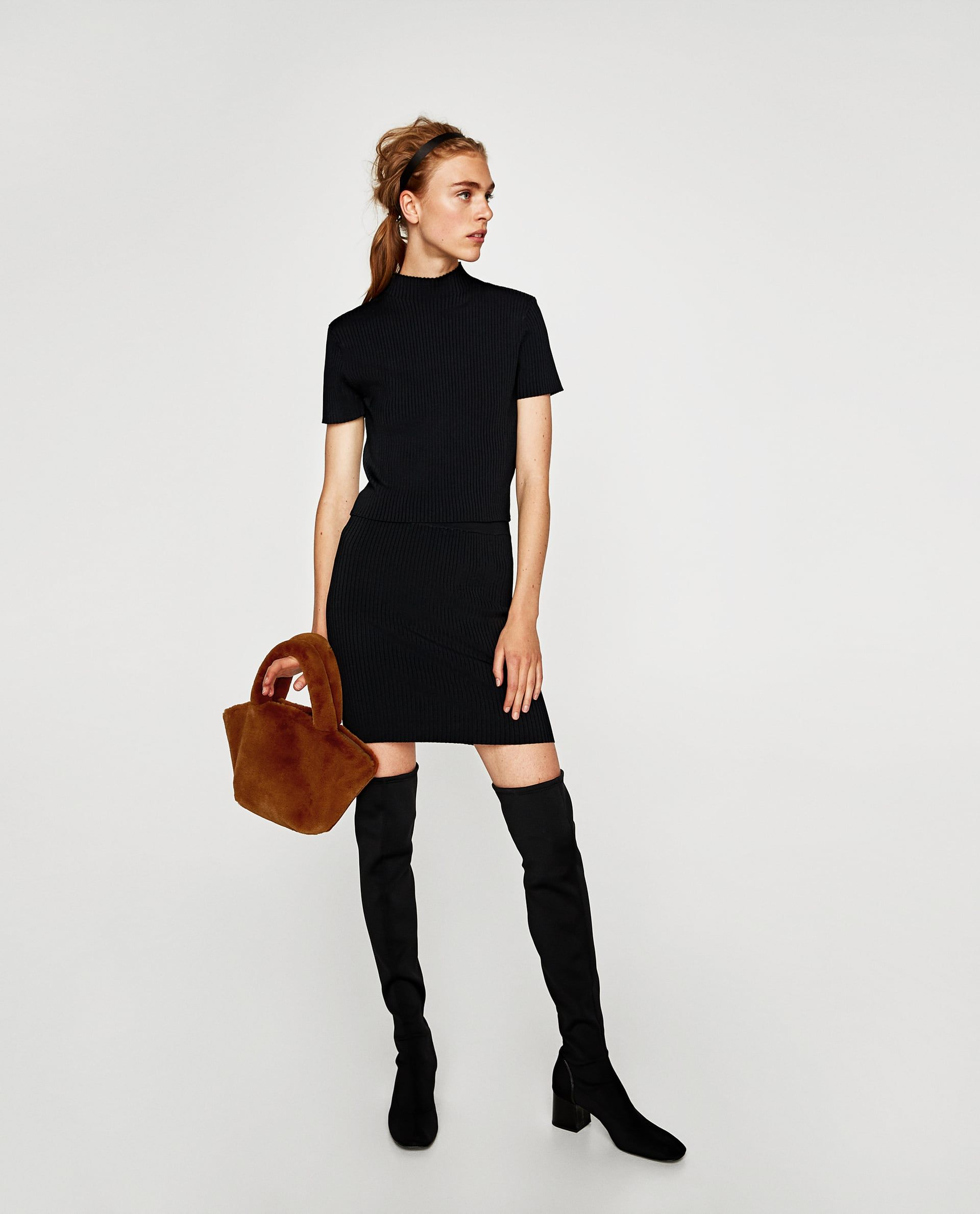 a673d4220 Image 1 of RIBBED TOP WITH HIGH COLLAR from Zara