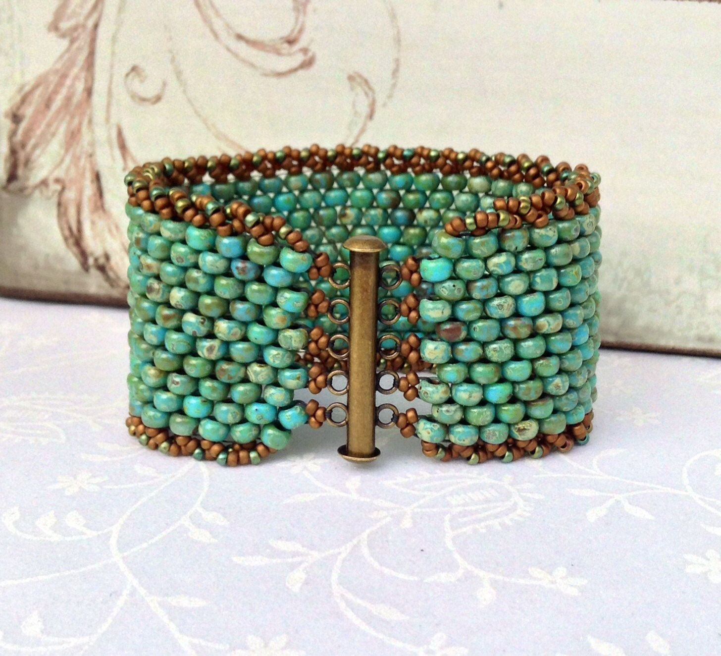Peyote Sch Beaded Bracelet Beadweaving Rustic Turquoise Czech Cuff Antique Br Western Boho Chic By Country Charms