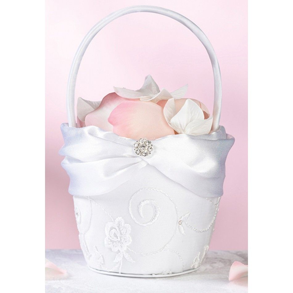 White Lace Flowergirl Flower Basket [576-FB385 Lace Flower Basket ...