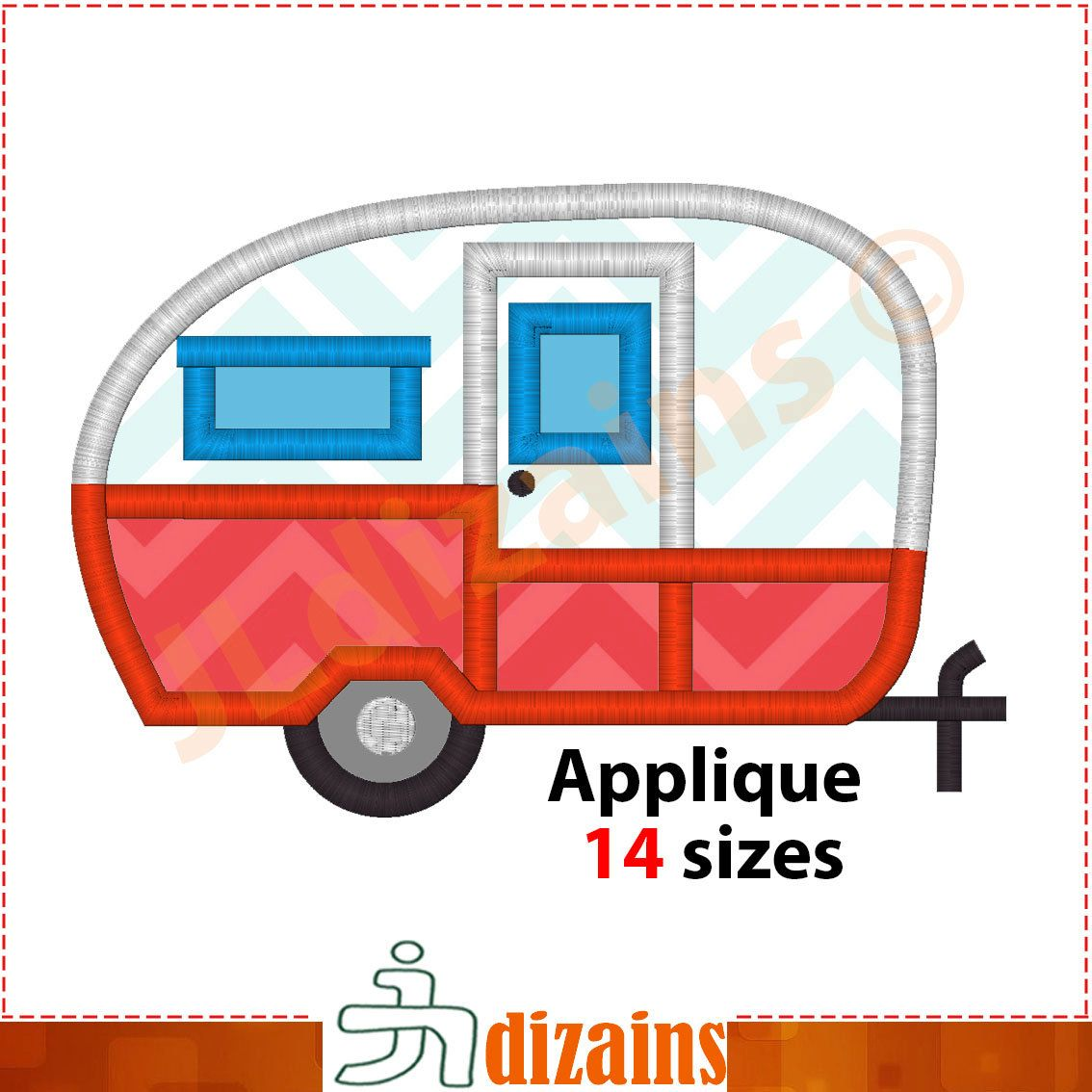 Camper Applique Embroidery Design Camper Trailer -2660