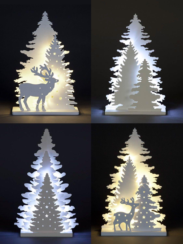 Wooden White Light Up Decorations Christmas Led Ornament Xmas Festive Tree Deer Christmas Tree Decorations Christmas Decorations Tree Christmas Decor Diy