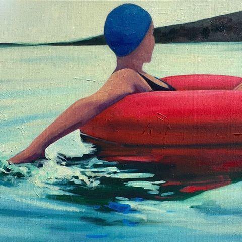 Twilight Swim  T.S. Harris  oil on canvas
