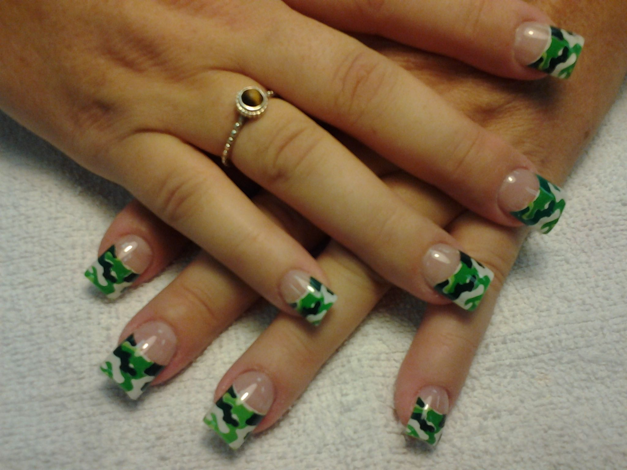 camouflage french tip nails