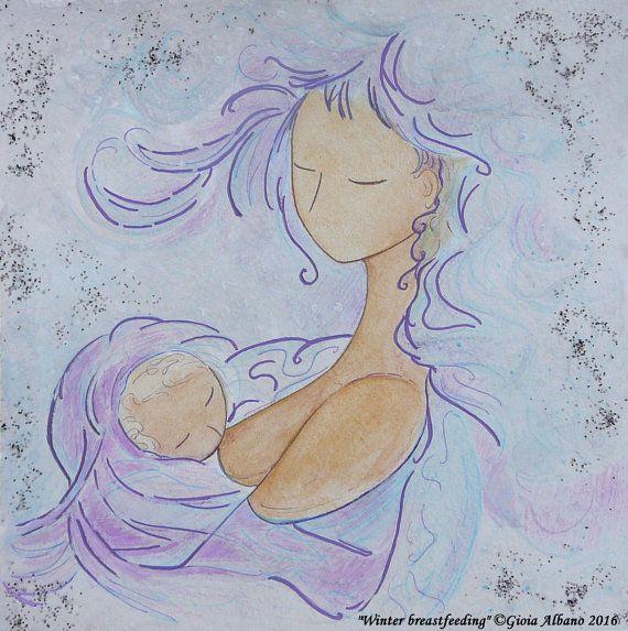 """Winter breastfeeding"" - 22/01/2016 Part of the sketch Friday project  #BREASTFEEDINGart  #motherhoodart  by GioiaAlbanoMotherArt"