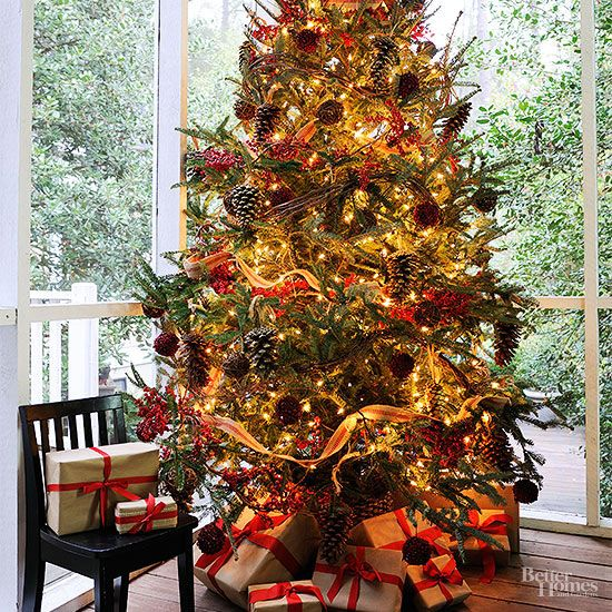 The faux red berries and snow-dusted pinecones give your tree an outdoorsy look, but the extreme amount of lights is what makes this tree really shine. Editor's Tip: To conserve energy, we suggest keeping the lights unplugged during the day, then lighting up the room at night./