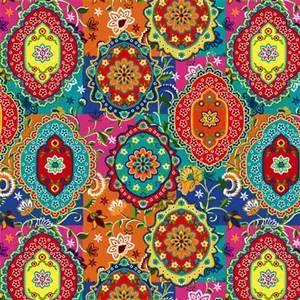 Moroccan style wallpaper paisley print colorful for Moroccan style wallpaper