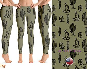 337c6318fb Best Cacti Succulents Leggings Womens Capris Black Cactus Printed Pattern  Active Gear Yoga Gym Wear Pattern Clothing Pant Running Plant Rave