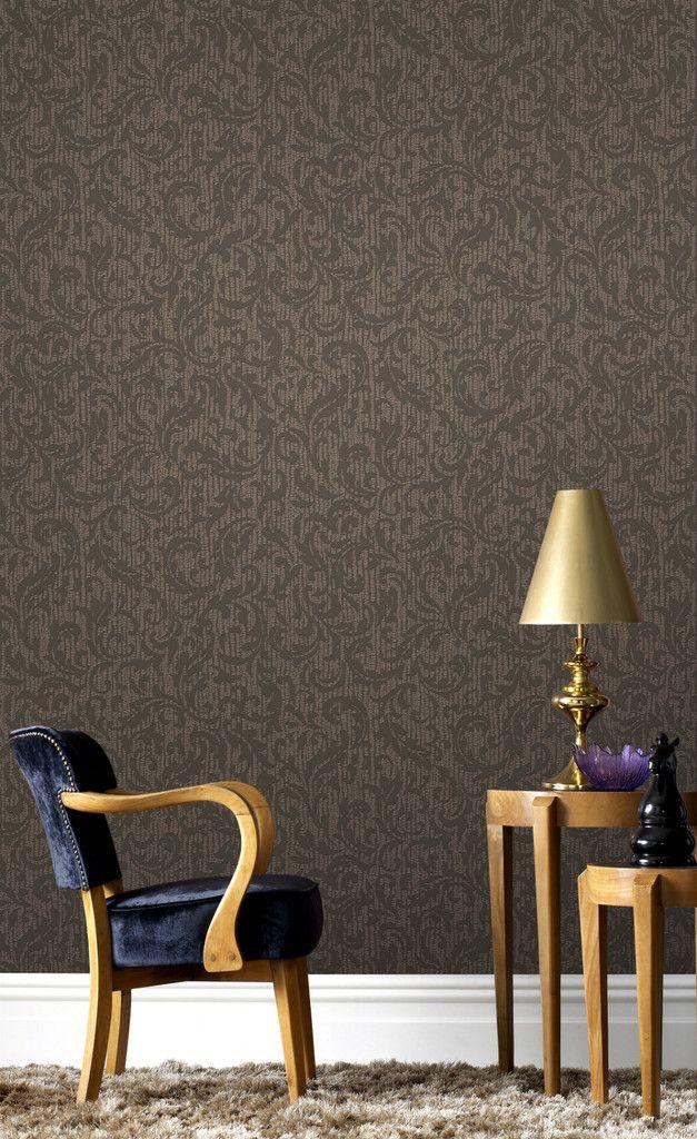 Boutique Cashmere Choc Copper Cream And Gold Wallpaper Home Decor Washable Wallpaper