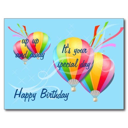Hot Air Balloons Birthday Postcard | Birthday images ...