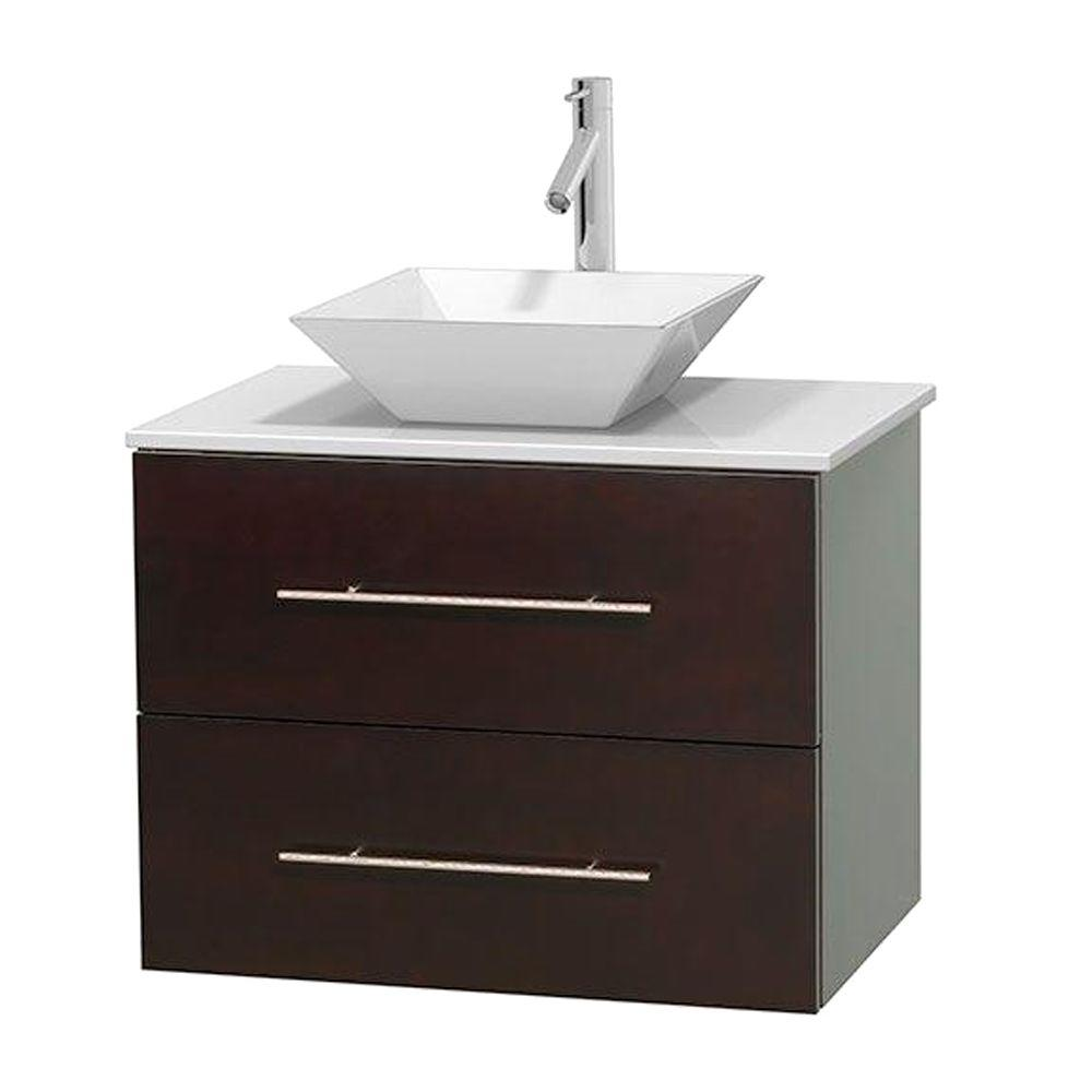 Wyndham Collection Centra 30 In Vanity In Espresso with Solid