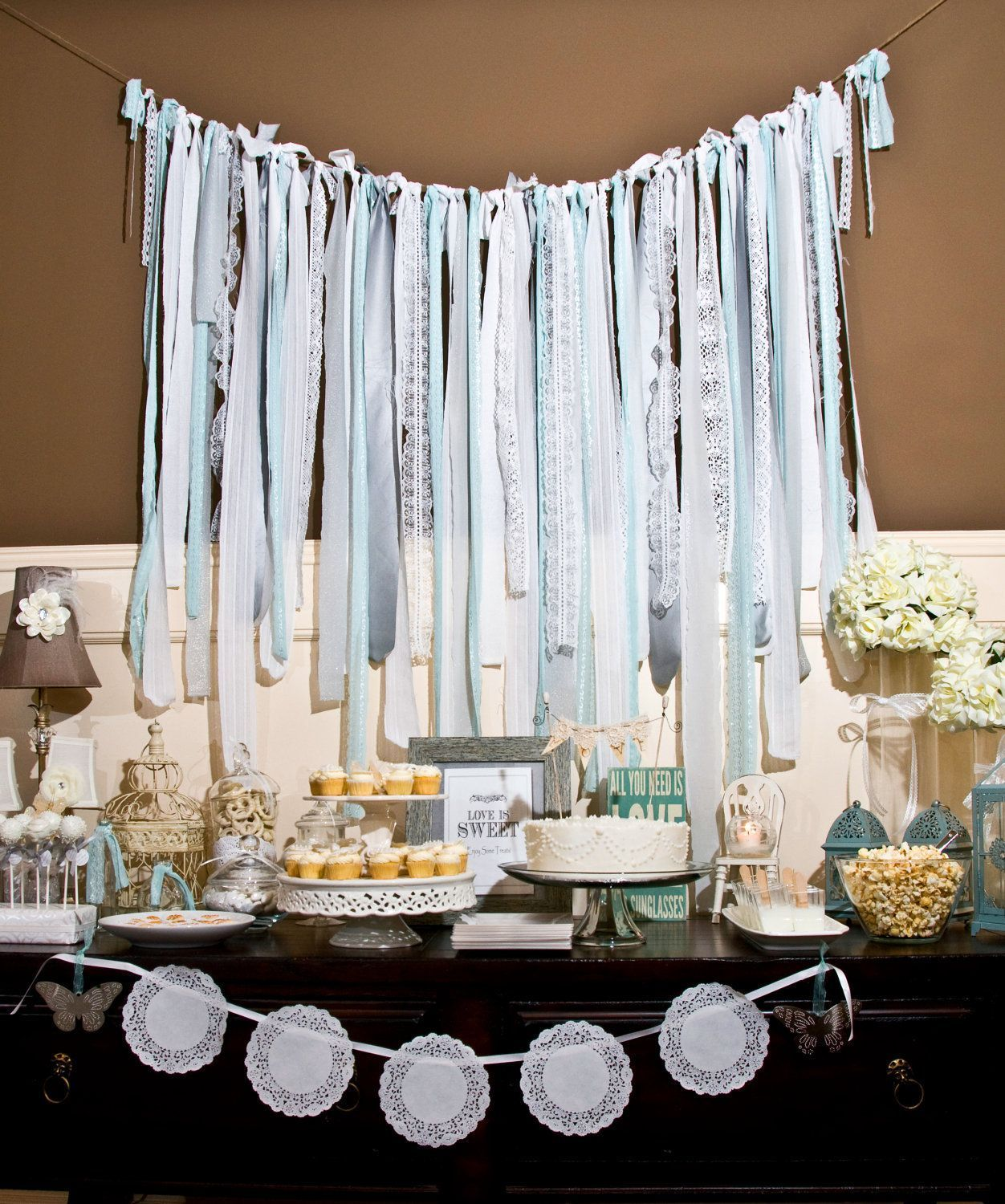 Silver/ Soft Gray/ Light Turquoise/ Seafoam/ White Vintage Fabric Lace Streamer / Backdrop for Wedding/ Baby/ Bridal Shower (HWTM Featured). $110.00, via Etsy. #streamerbackdrop Silver/ Soft Gray/ Light Turquoise/ Seafoam/ White Vintage Fabric Lace Streamer / Backdrop for Wedding/ Baby/ Bridal Shower (HWTM Featured). $110.00, via Etsy. #streamerbackdrop Silver/ Soft Gray/ Light Turquoise/ Seafoam/ White Vintage Fabric Lace Streamer / Backdrop for Wedding/ Baby/ Bridal Shower (HWTM Featured). $11 #streamerbackdrop