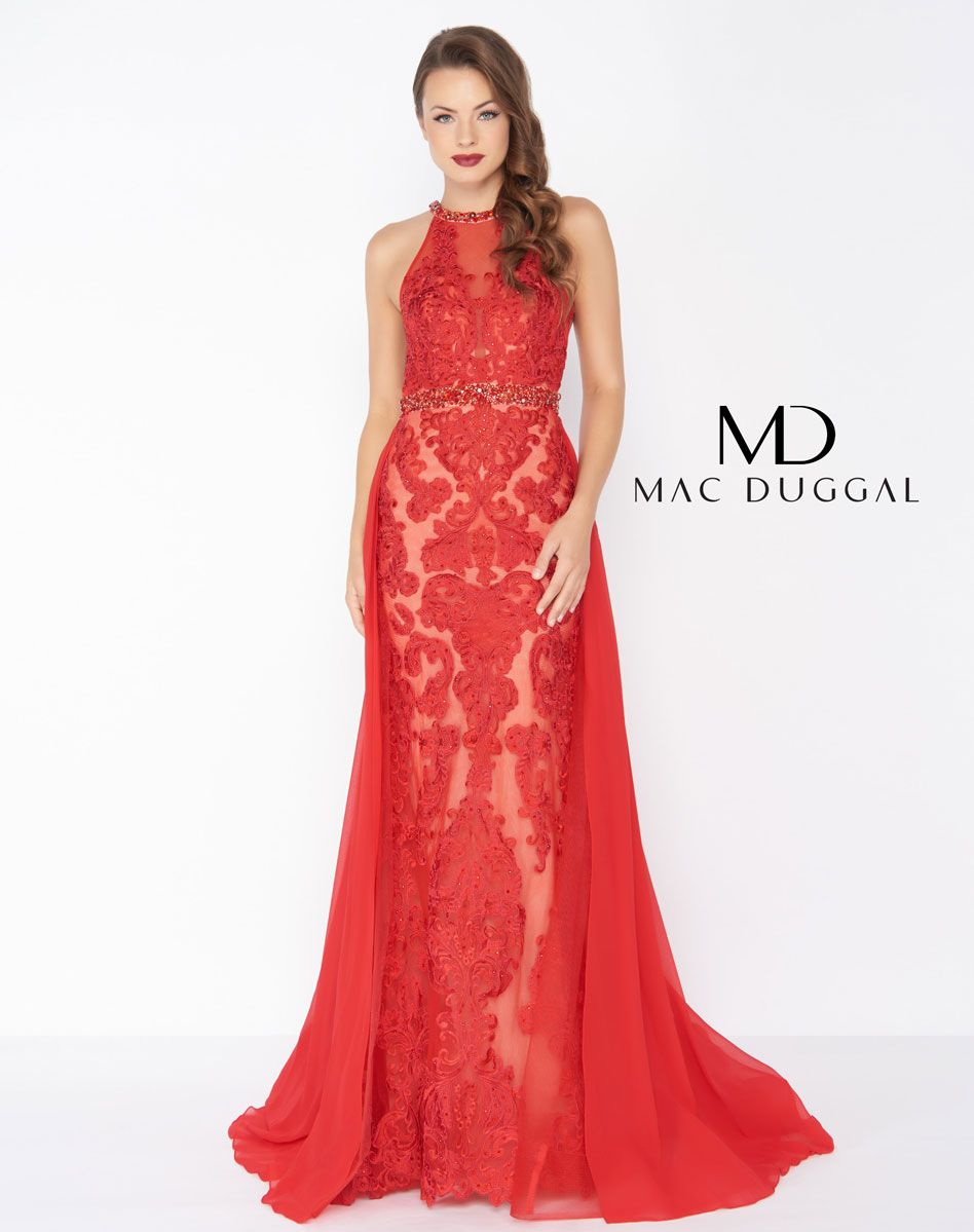 Mac Duggal Red with Cape and Lace Ypsilon Dresses Prom Pageant ...