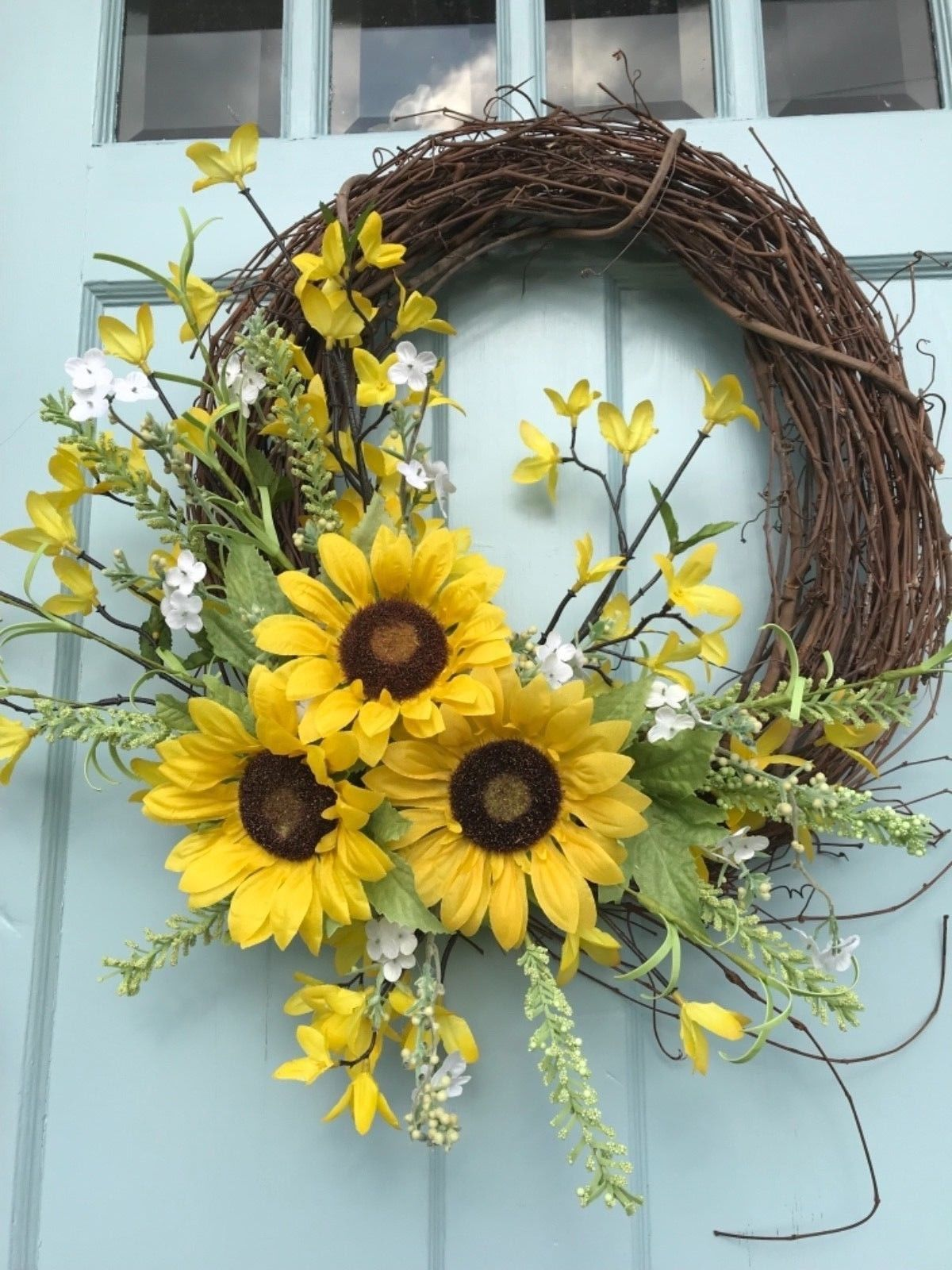 Farmhouse rustic country sunflower springsummer wreath