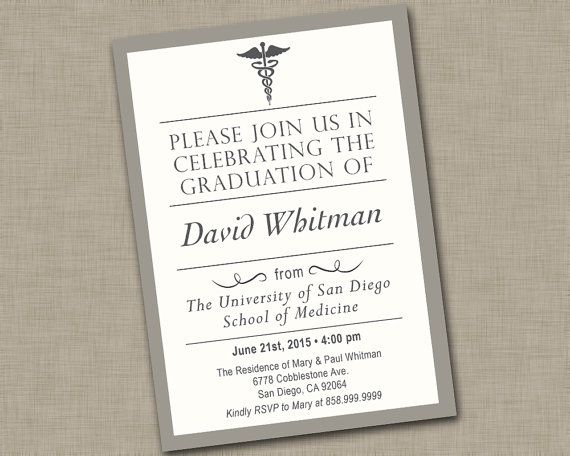 Masculine And Sophisticated College Graduation Invitation For Someone Who Is Graduating From Medical School Doctor Male Nurse Etc Features A Faux