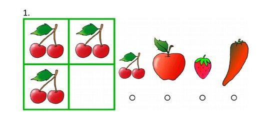 Do you see these 4 boxes? In the top row the pictures go together in a certain…