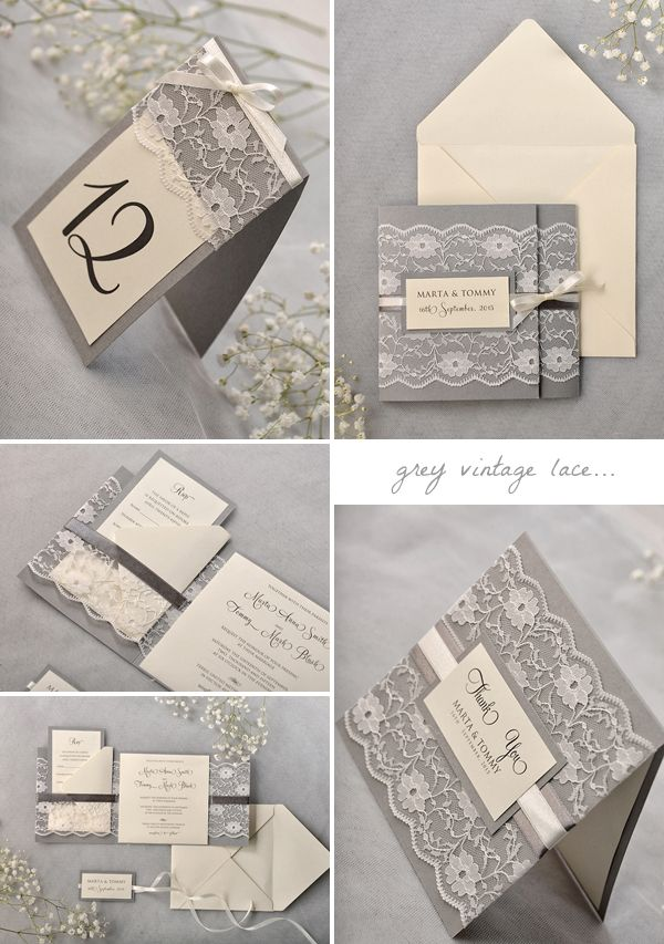 grey-vintage-lace-wedding-invitation-suite … | Pinteres…