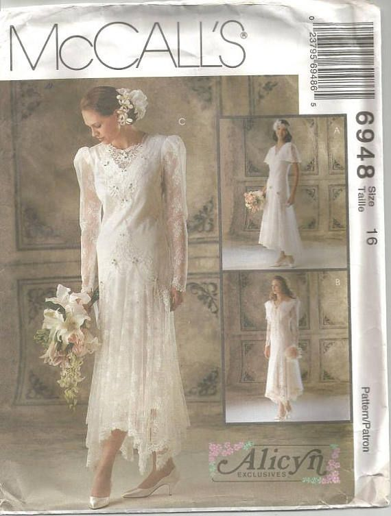 1990s Wedding Gown Wedding Lace Hemline Variations Capelet McCall\'s ...