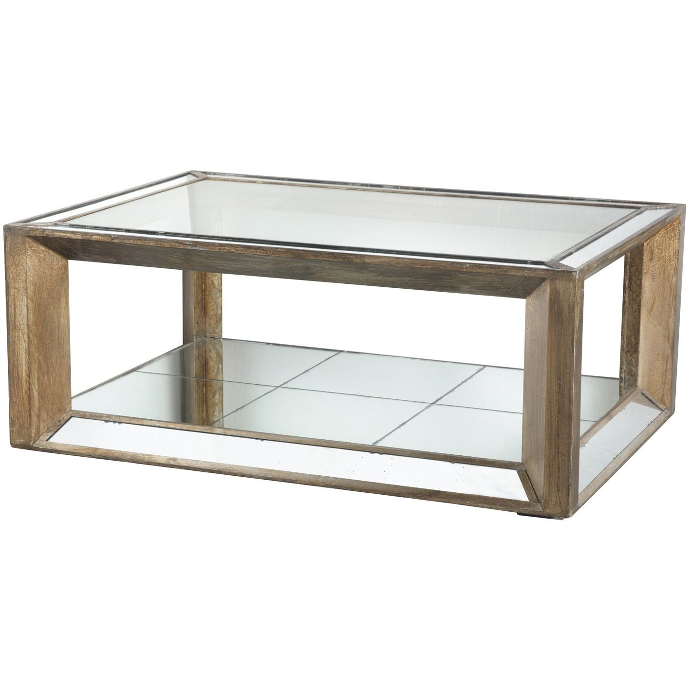 Julia Wood Glass Mirrored Coffee Table 51x35 3x20 3 Mirrored