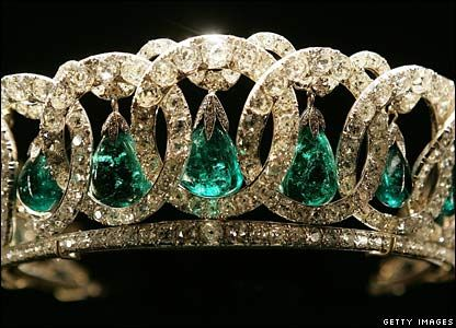 Made in 1890 for Grand Duchess Vladimir, aunt of the last Russian Tsar Nicholas II, the Vladimir tiara was smuggled out of Russia during the Revolution by a British diplomat. In 1921 it was sold by the Grand Duchess's daughter, Princess Nicholas of Greece, to Queen Mary who adapted the tiara to take fifteen of the celebrated Cambridge emeralds as an alternative to the original pearls.  Queen Elizabeth II inherited the tiara in 1953, & has worn it with both the pearls and the emeralds.