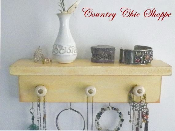 Cottage Chic Necklace Organizer with Decorative Knobs. Available in ...