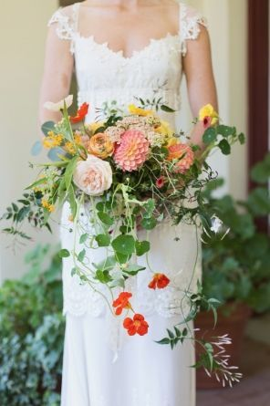 Love These Nasturtium Flowers And Sprays Of Jasmine In The Wedding