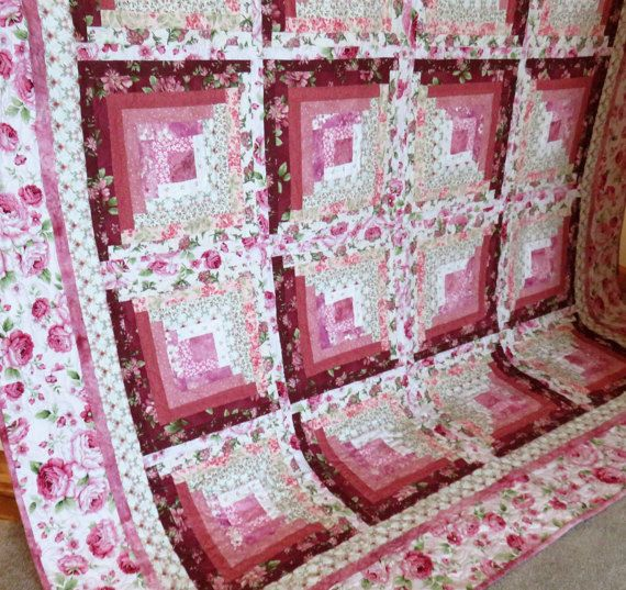 Pink Flowers Quilted Full-size Blanket | Full-size Quilt | Floral ... : floral quilts for sale - Adamdwight.com