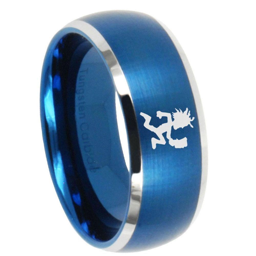 10mm hatchet man dome brushed blue 2 tone tungsten carbide