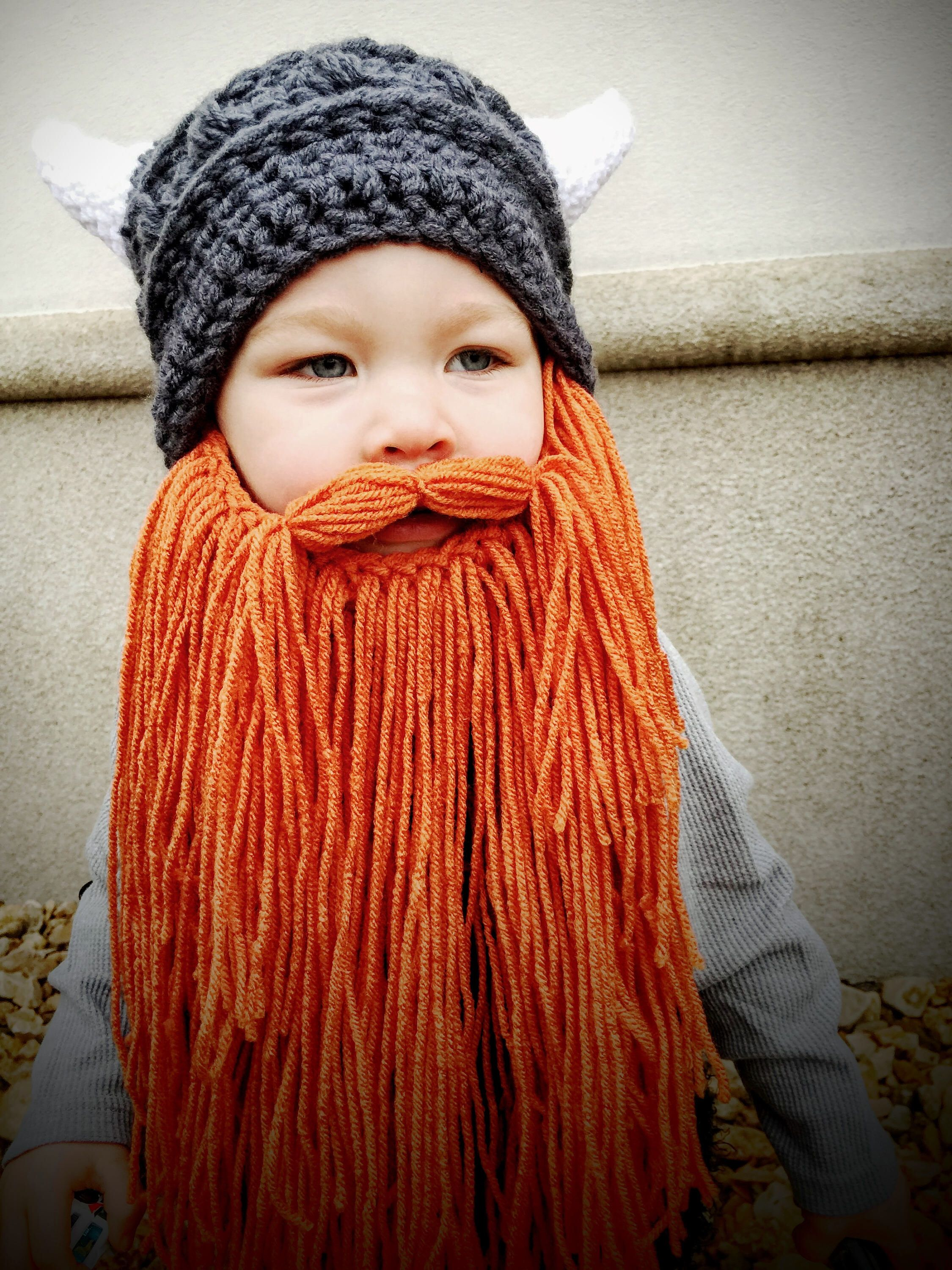 1a2859a6e8f0a6 Viking Hat with Horns and Beard Hand Crocheted Valhalla horns mustache child  adult costume cosplay halloween bearded beanie cap | Crazy For Crochet |  Beard ...
