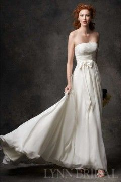 Simple A Line Strapless Chiffon Destination Wedding Dress