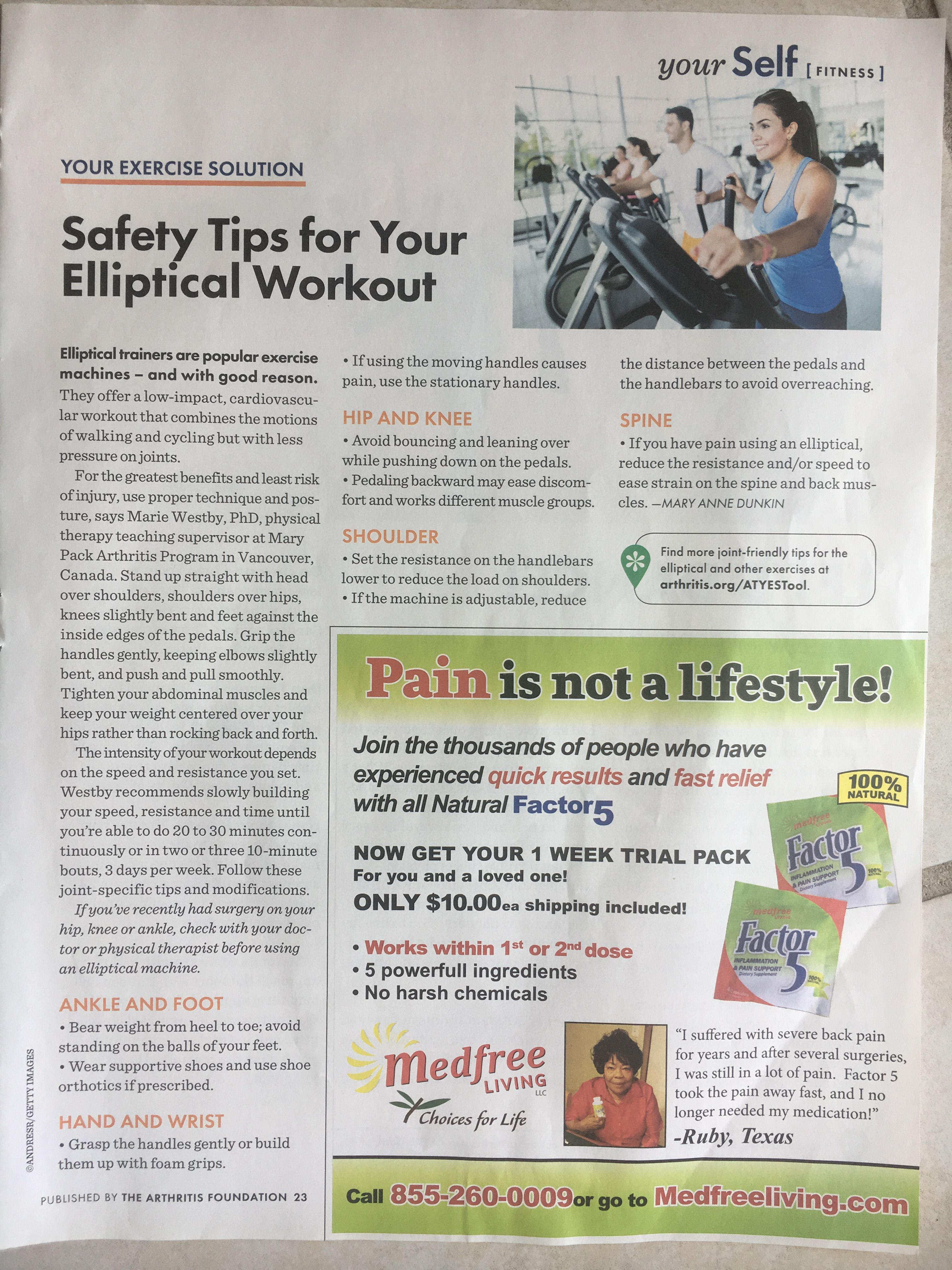 Elliptical Workout Safety Tips for those with Arthritis
