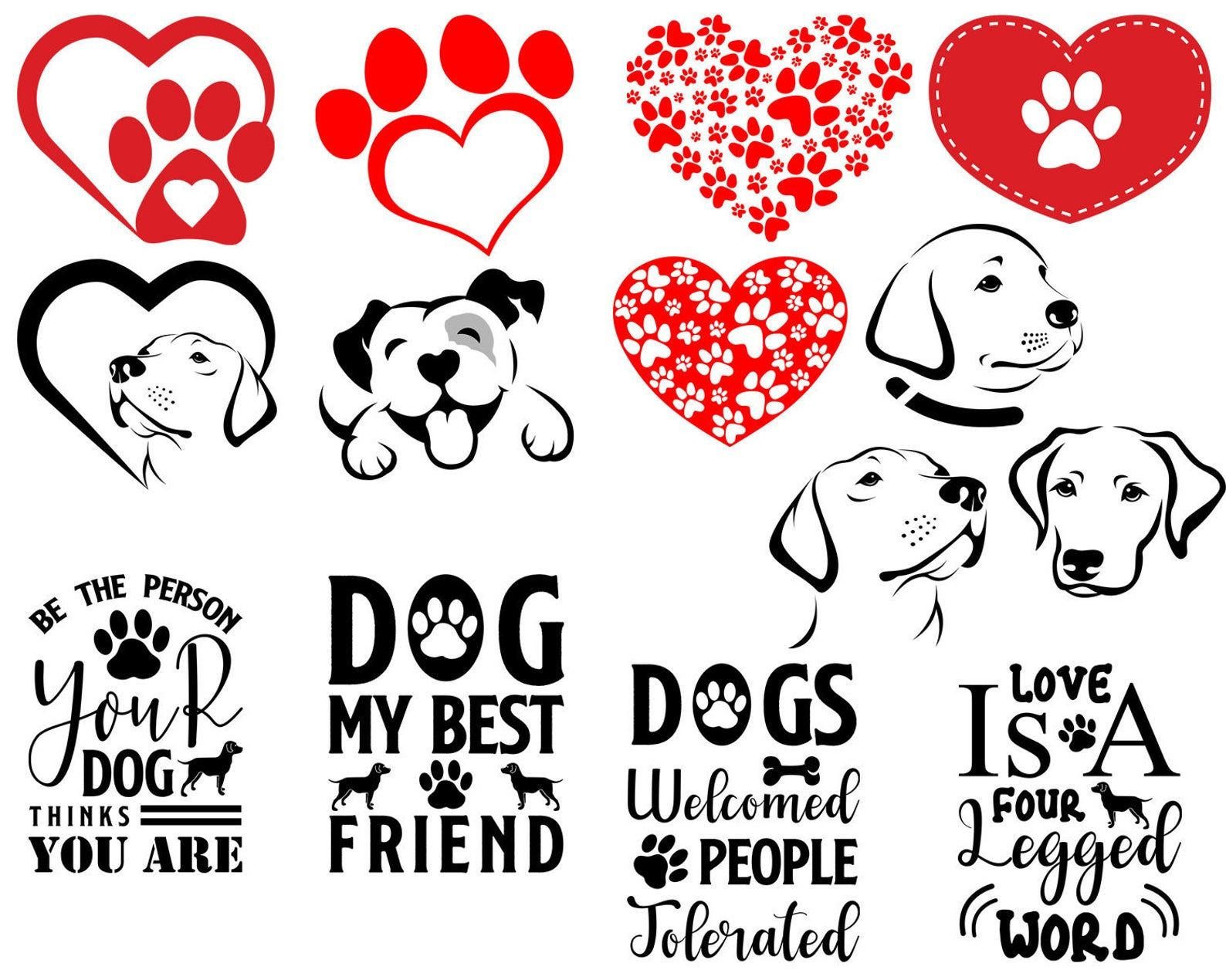Download Paw Prints Heart SVG Dog Paw Svg Dog Love Silhouette File ...