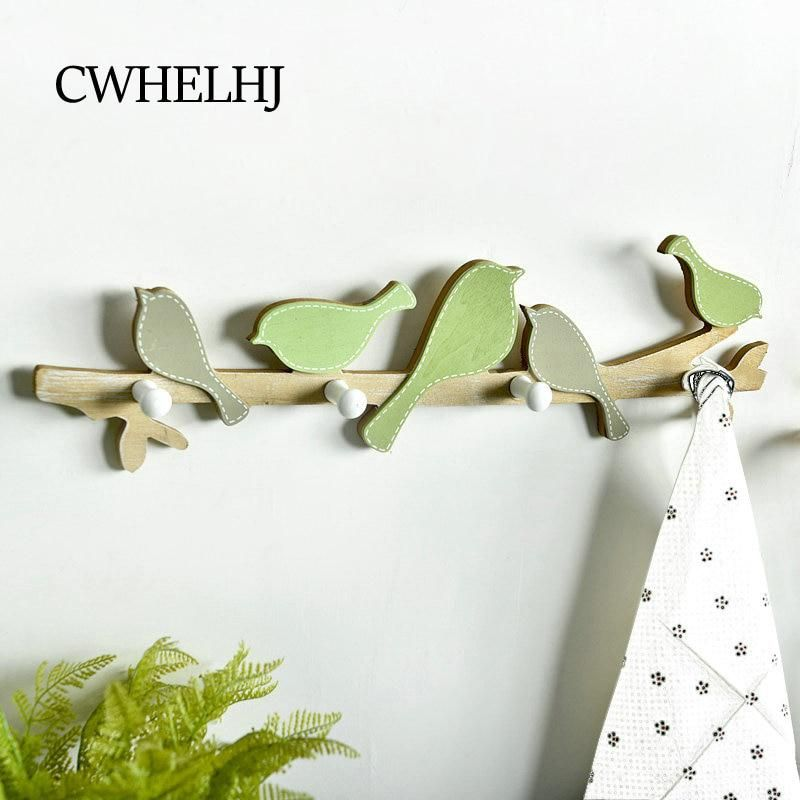 Cute Cartoon Wood Bird Wall Decoration Hooks Creative Towel Key Coat Clothes Hook Wall Door Hanging Decoration Hanger Room Decor Kids Wall Hooks Hanger Design Handmade Home Decor