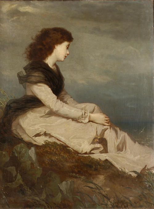 Distant Thoughts - Wilhelm August Lebrecht Amberg 19th century