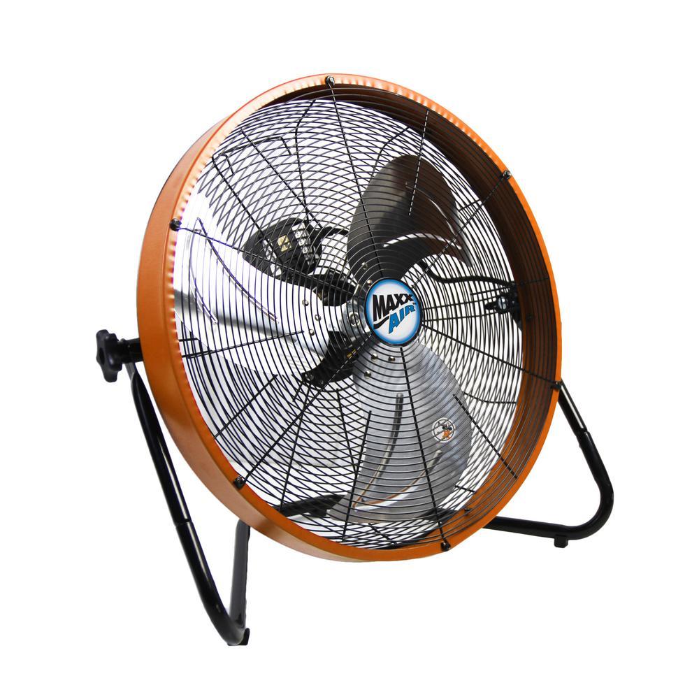 Maxxair 20 In 3 Speed Shroud Floor Fan With Orange Housing Hvff