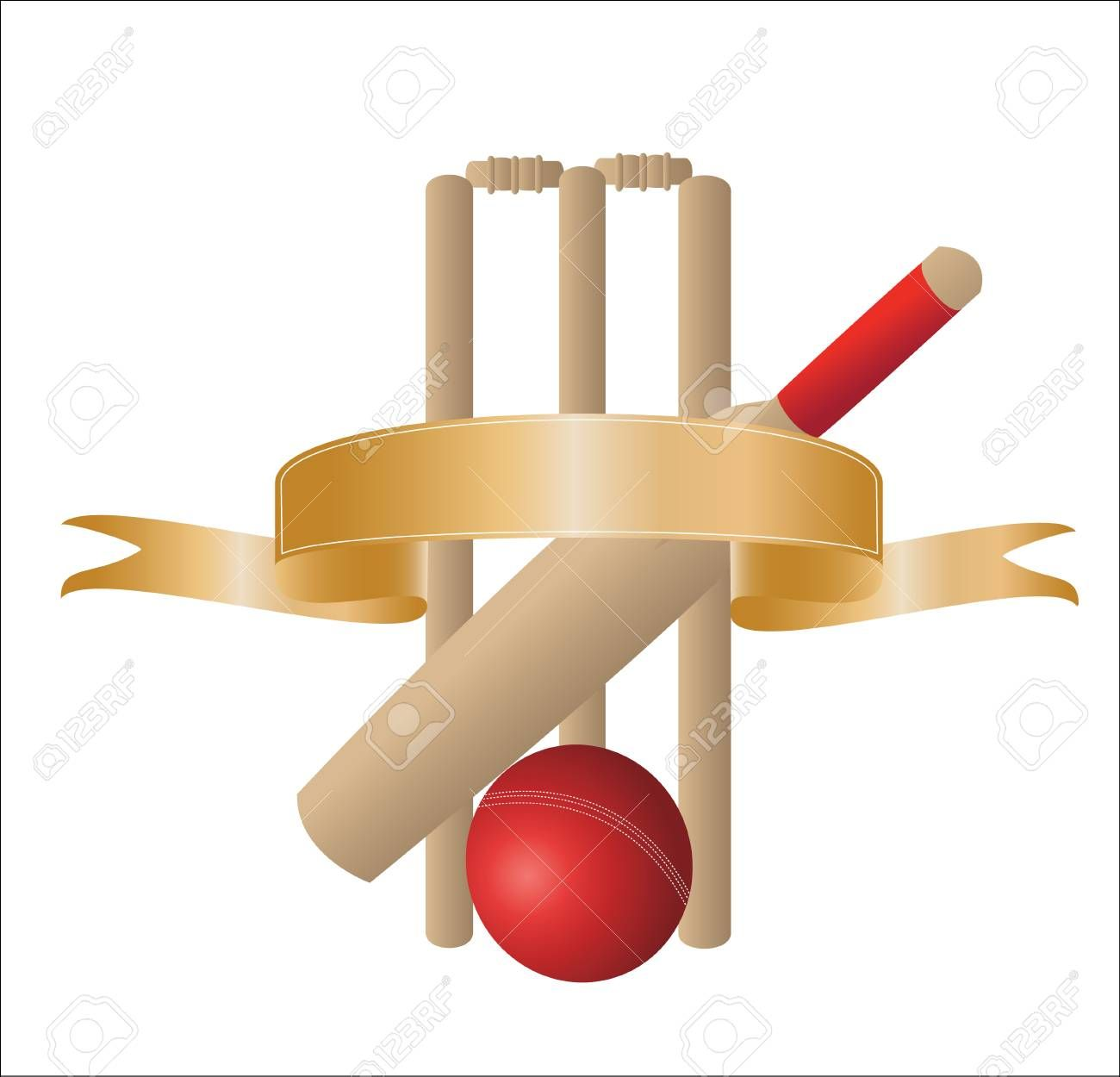 Illustration Of One Cricket Bat With Wickets And A Blank Gold