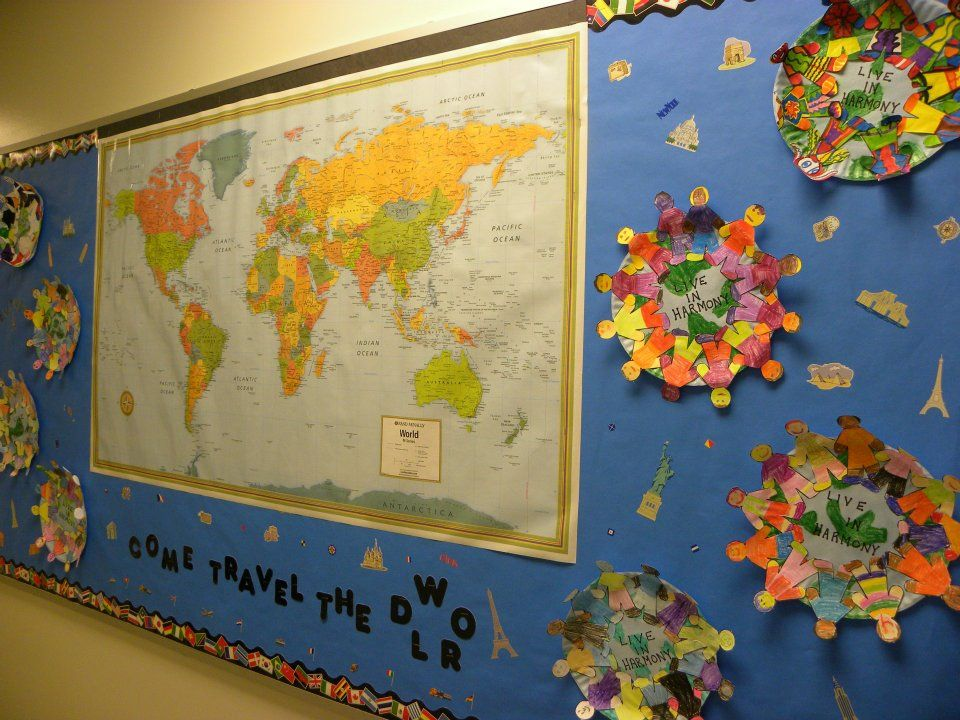 Classroom Decor Travel ~ Bulletin board for traveling theme teaching tips and