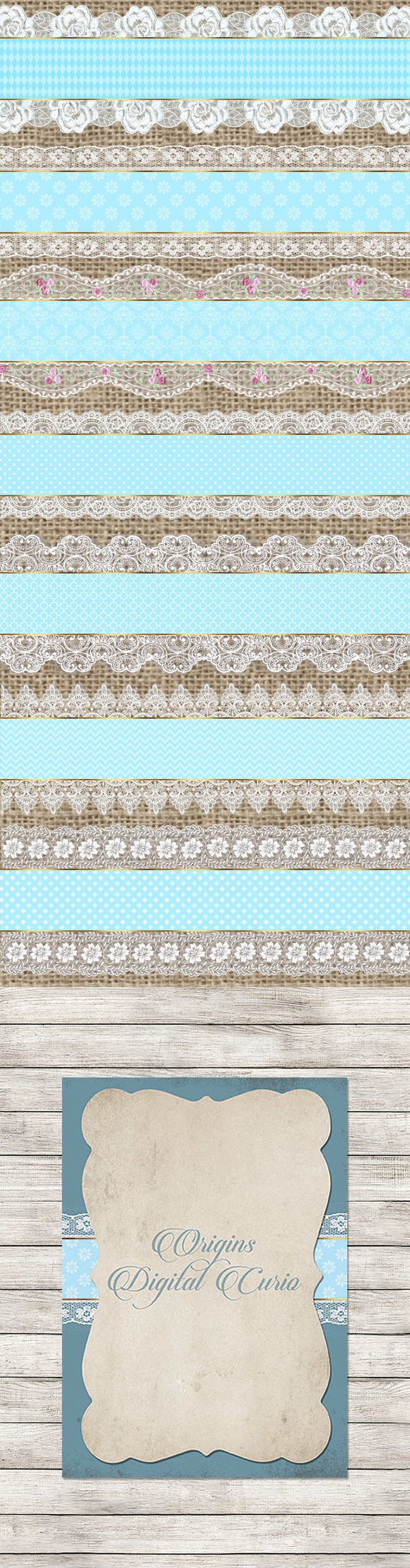 Blue and White Lace Trim Clipart. Printables. $2.00