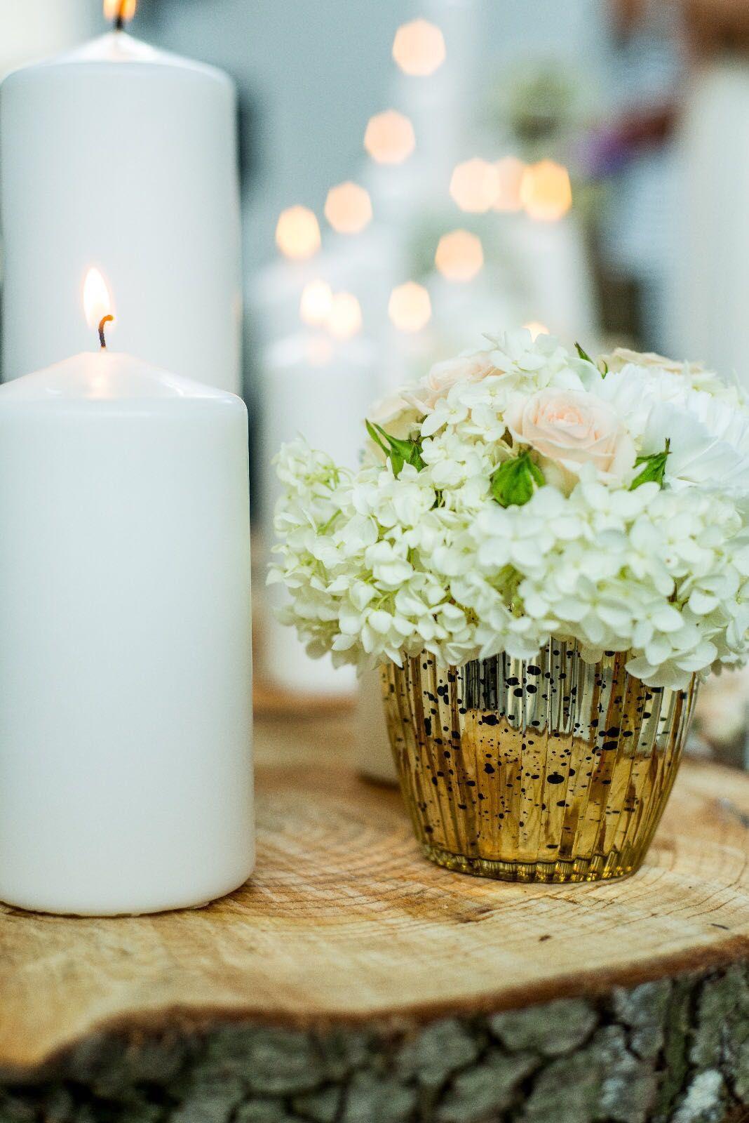 Dekoration Tischdeko Gold Holz Rustikal Hochzeit