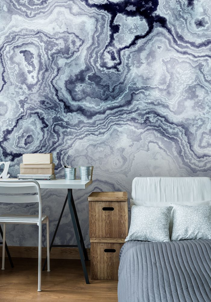 Best Blue Swirl Marble Wall Mural Feature Wall Bedroom 400 x 300
