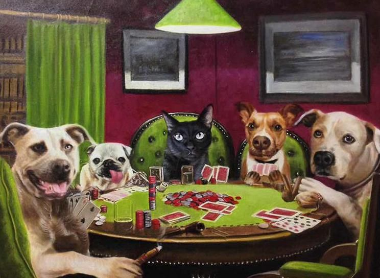 Paintings Of Dogs Playing Poker Have Been Around For A Long Timebut What About Cats Playing Poker Or Cats And Dogs Pla In 2020 Animal Paintings Painting Cat Portraits