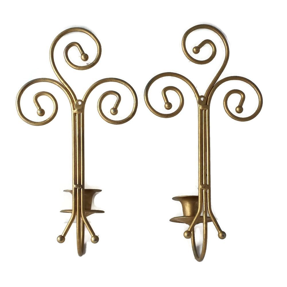 Metal wall sconces gold tone scroll art candle holders hollywood