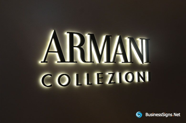 3D LED Side-lit Signs With Black Acrylic Front-panel For Armani