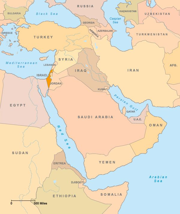 Map - The Middle East - Israeli-Palestinian Conflict - ProCon.org ...