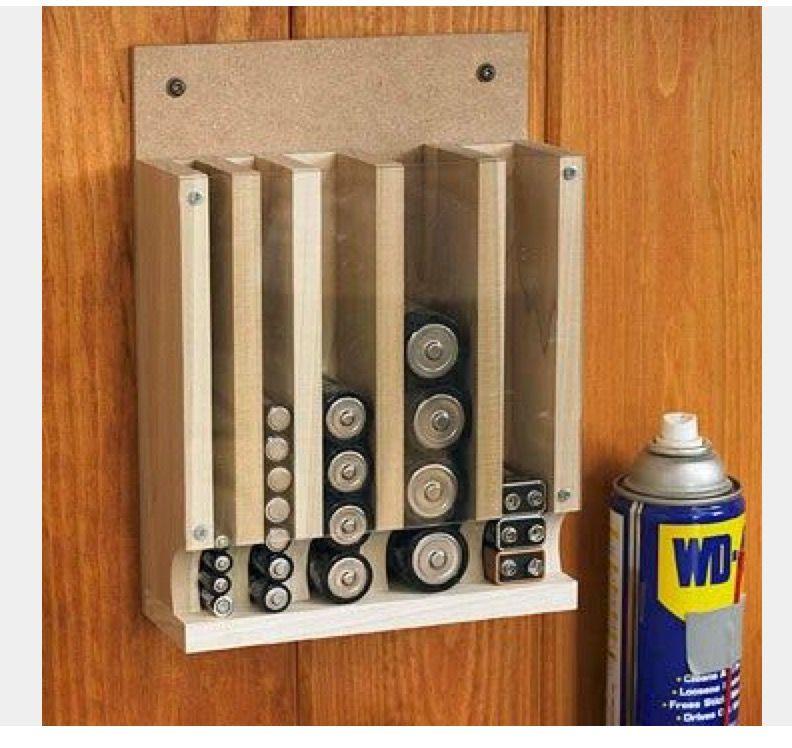 Diy Rangement Piles Vertical Battery Rack Decoration Garage Projets D Ebenisterie Astuce Rangement