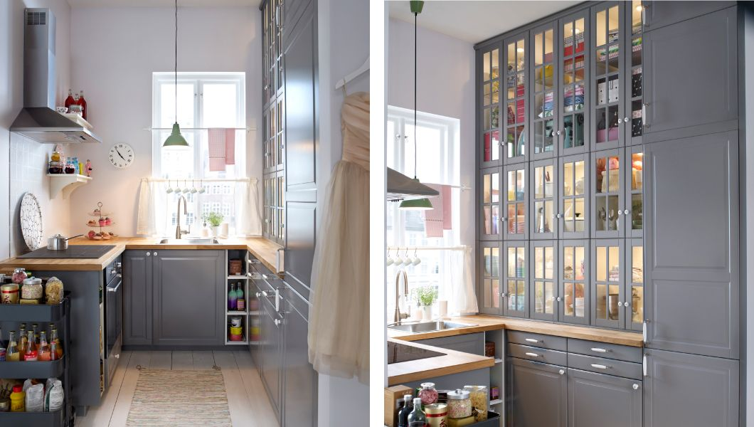 Kitchen With Bodbyn Grey Drawer Fronts Doors And Glass Doors Cucine Piccole Ristrutturazione Cucina Idee Cucina Ikea