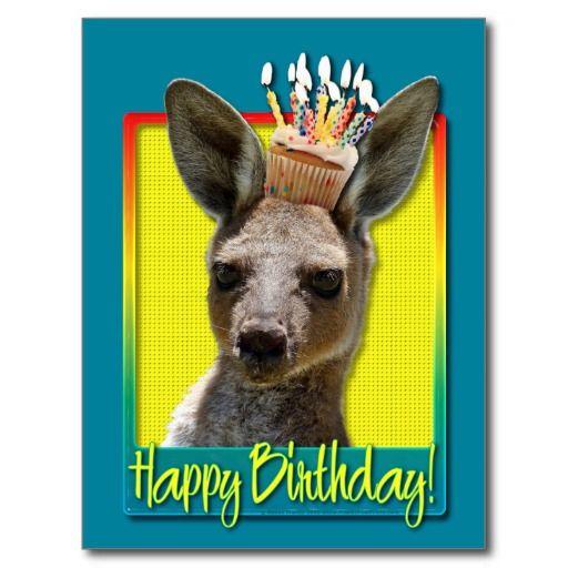 Birthday Cupcake Kangaroo Postcard Zazzle Com Happy Birthday Cupcakes Kangaroo Happy Birthday Cards