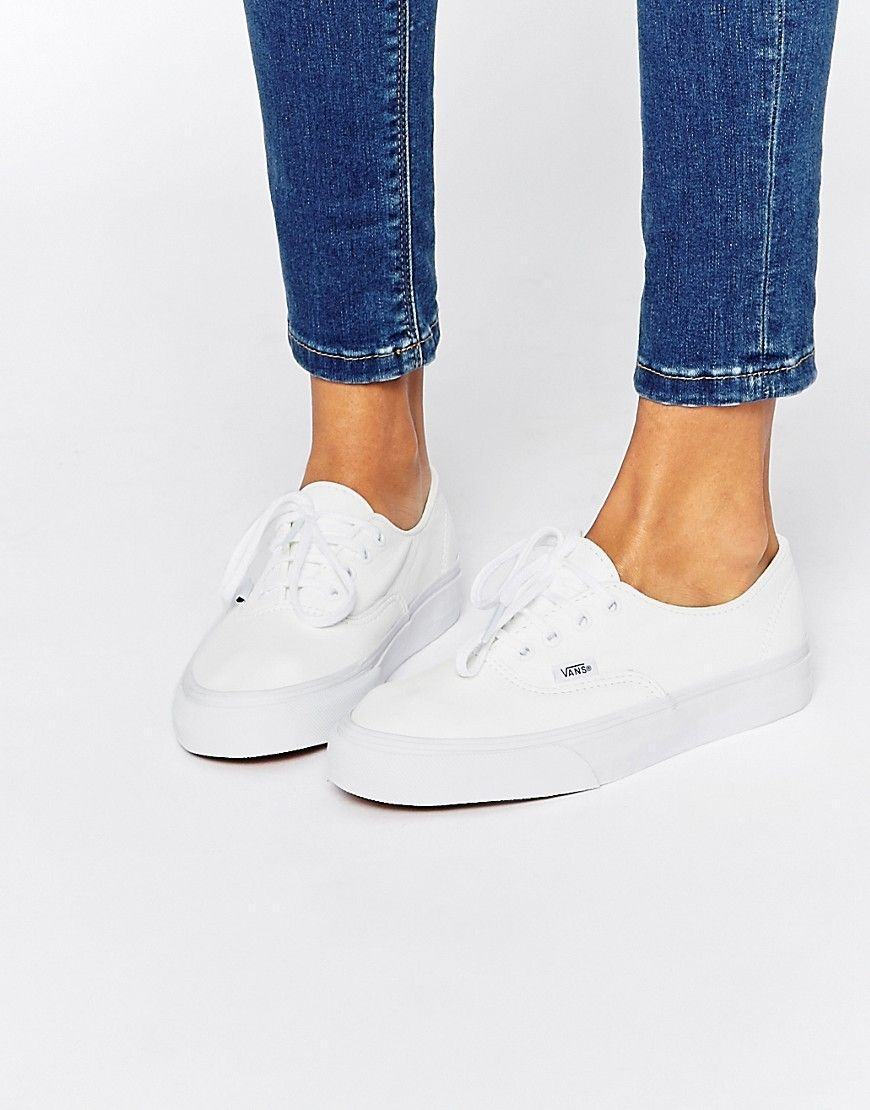 Shop Vans Authentic Decon White Leather Trainers at ASOS.